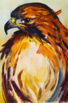 "Watching, Water Color on Canson paper, image 10"" x 7"" SOLD"