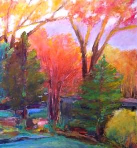 "Spring Morning, Oil pastel on rag board, image 10. 5"" x 8.5"", far med 16"" x14"" , $300 SOLD"