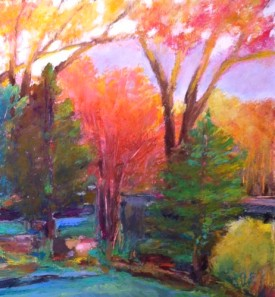 "Spring Morning, Oil pastel on rag board, image 10. 5"" x 8.5"", far med 16"" x14"" , $300 SOLD"