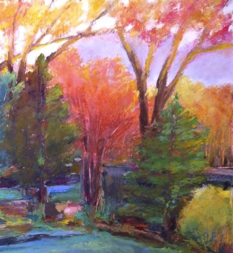 "Spring Morning, Oil pastel on rag board, image 10.5"" x 8.5"", framed 16"" x14"", $300"