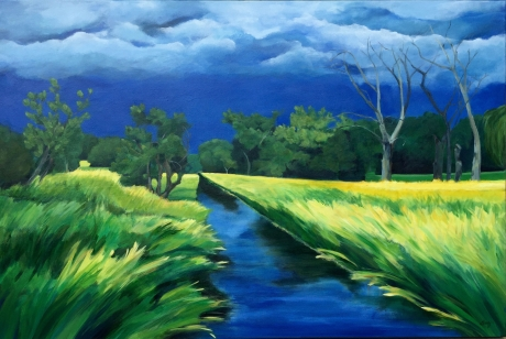 "Quiet Before The Storm, Acrylic on canvas, 24"" x 36 "" $1000 -Giclees available"