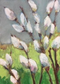 """Pussy Willows, Oil pastel on rag board, image 13"""" x 9"""", framed 22.75"""" x 18"""", $450"""