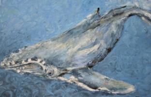 "Diving Deeper, Oil pastel on rag board, image 7"" x 10"", framed 15.5"" x 16.5"" $250"