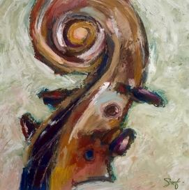 """Tuning, Oil pastel on BFK gray, image 7"""" x 7"""" SOLD, giclee prints available"""