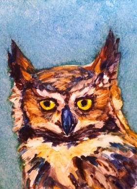 "Wild Eyed, Water color on Yupo, image 12"" x 9"", framed 16"" x 13"", $300"