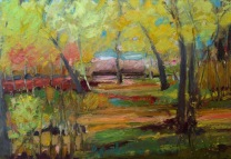 """Spring Canopy, Oil pastel on Canson paper, image 7"""" x 10"""" SOLD"""