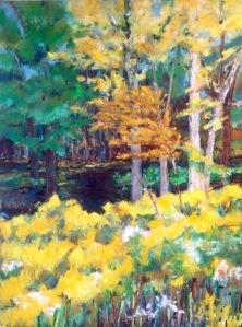 "Goldenrod Glen, Oil pastel on BFK gray, image 24"" x 18"", framed 26"" x 20"", $775"