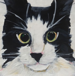 "Chelsea's Cat, Acrylic on birch, 4"" x 4"" SOLD"