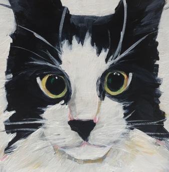 "Chelsea's Cat, Acrylic on birch, 4"" x 4"" SOLD"