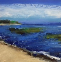 "Ellis Blues, Oil pastel on rag board, image 5"" x 5"", framed 14"" x 14"" , $175"