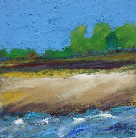 "Heat Wave, Oil pastel on rag board, image 5"" x 5"", framed 14"" x 14"", $175"