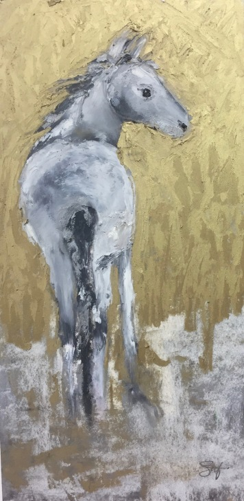 "Spirit Pony, Oil pastel on rag board, image 12"" x 6"" , $100"