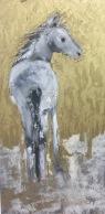 "Spirit Pony, Oil pastel on rag board, image 12"" x 6"" , $100 SOLD"
