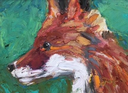 """Little Fox, Oil pastel on rag board, 3"""" x 4"""", SOLD"""