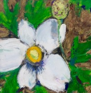"Blossom, Oil pastel on rag mat board, image 5"" x 5"", framed 14"" x 14"", $175"