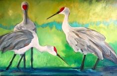 "Cranes, Acrylic on canvas, 24"" x 36"", $1,000"