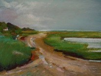 "Rock Harbor Beach Oil pastel on bristol, image 12"" x 16"", framed 16"" x 20"", $400"