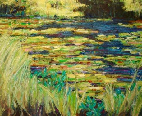 "Community Oil pastel on bristol, image 12"" x 16"", framed 16"" x 20"", $400"