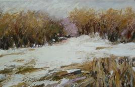"Ocher, Lavender and Gray, Oil pastel on rag board, image 5"" x 8"", framed 11"" x 14"" , $300"