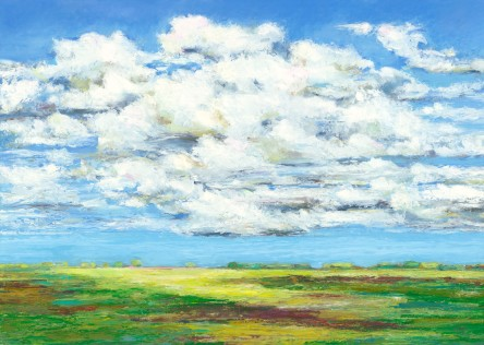 "After the Rain, Oil pastel, image 17"" x 24"", framed 18"" x 25"" , $720, Giclee also available"