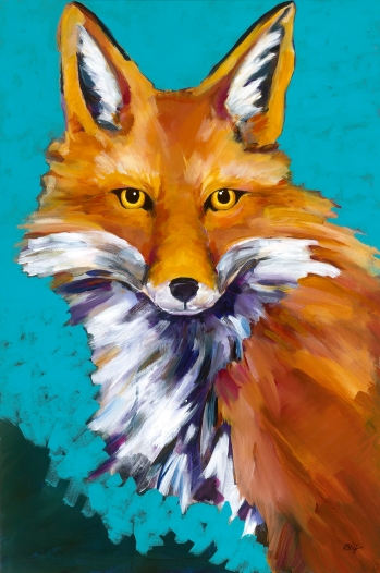"Fantastic Mr. Fox, Acrylic on canvas, 36"" x 24"" $1,000"