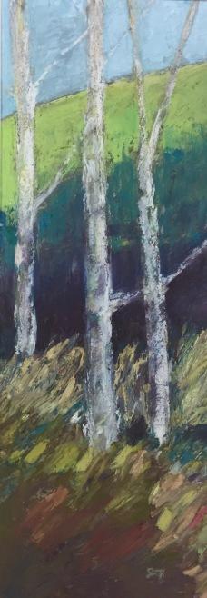 "Cabin View, Colorado (Aspens), Oil pastel, 5.75"" x 16"" unframed, 12"" x 22.25"" framed, $300"